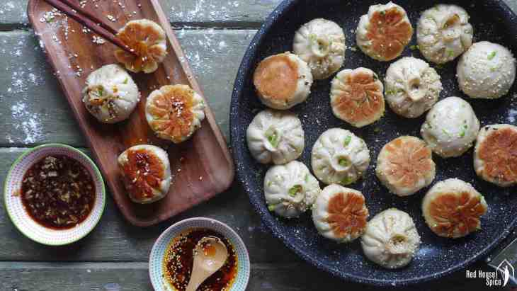 Tasty, moist pork wrapped with half-soft, half-crispy dough, Shanghai pan-fried pork buns, traditionally served as breakfast, make a great party food.