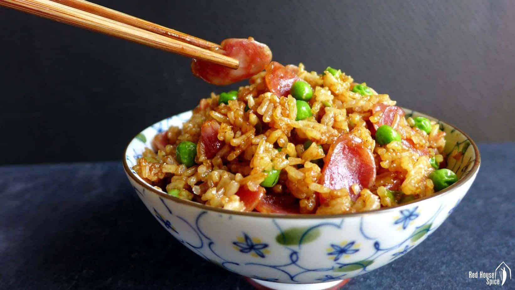 Chinese sausage fried rice (腊肠炒饭)