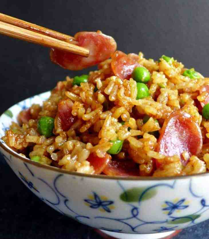 A quick, tasty dish prepared in just a few minutes, Chinese sausage fried rice delivers a balanced smoky, savoury & sweet taste.