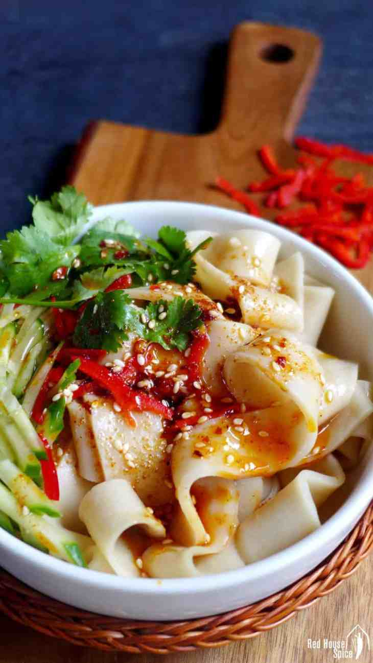 A bowl of Liang Pi (cold skin noodles), looks very appetizing.