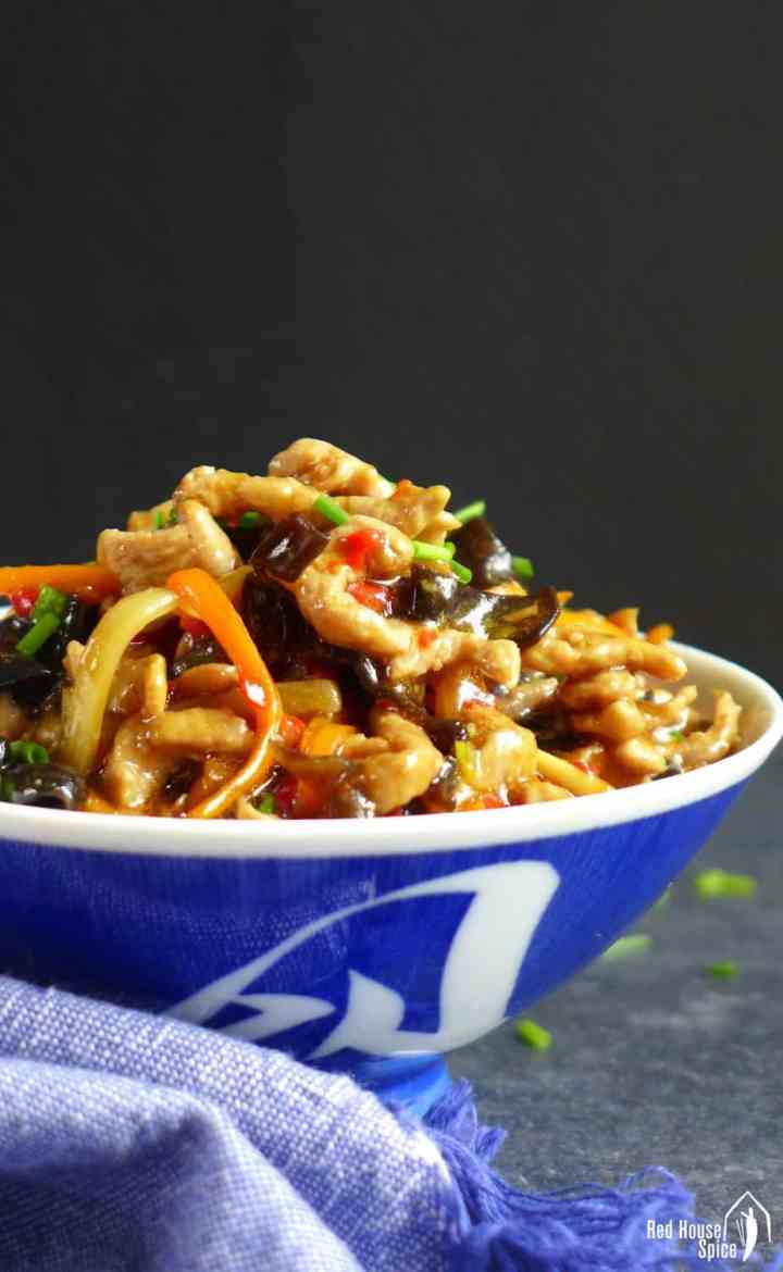 Shredded pork stir fry in a bowl
