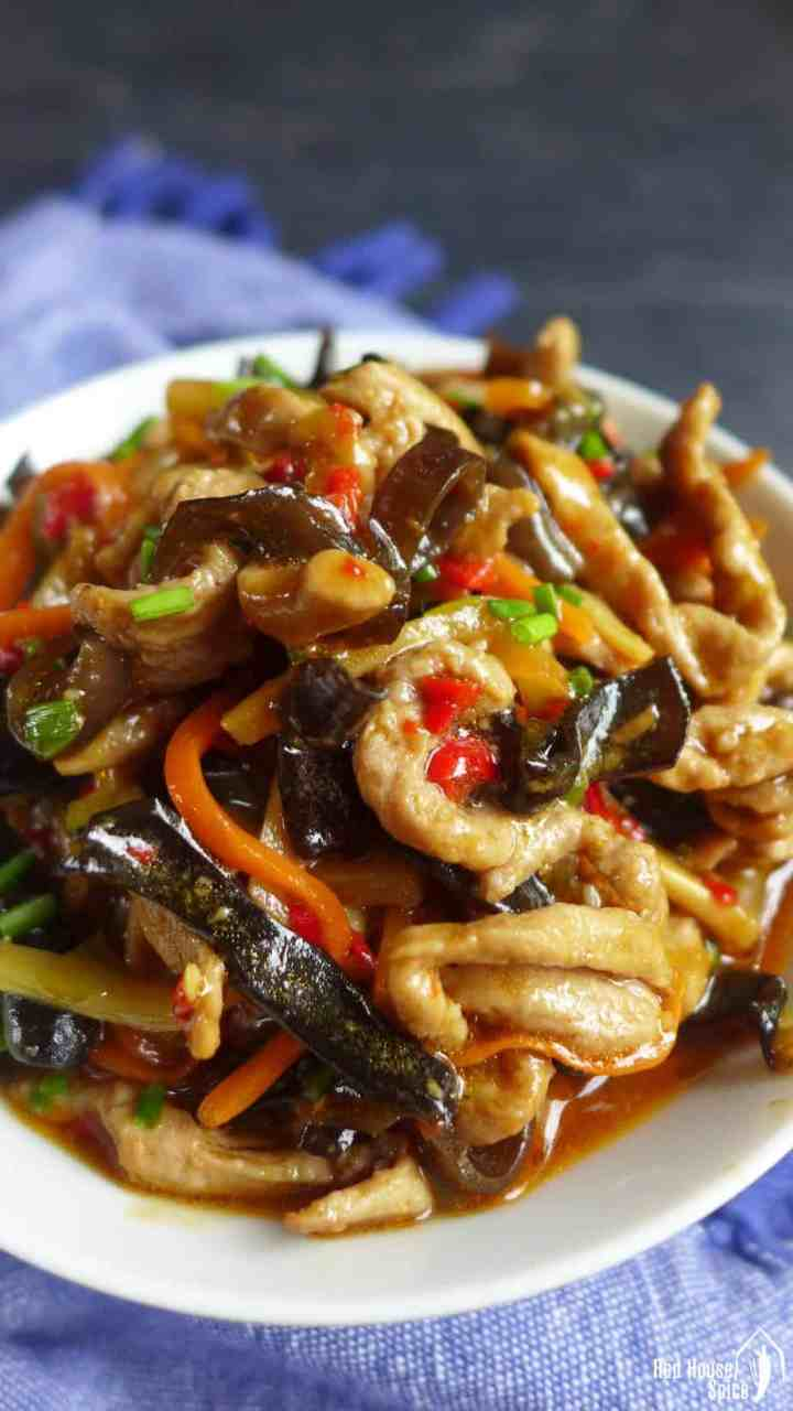 Sichuan shredded pork with garlic sauce.