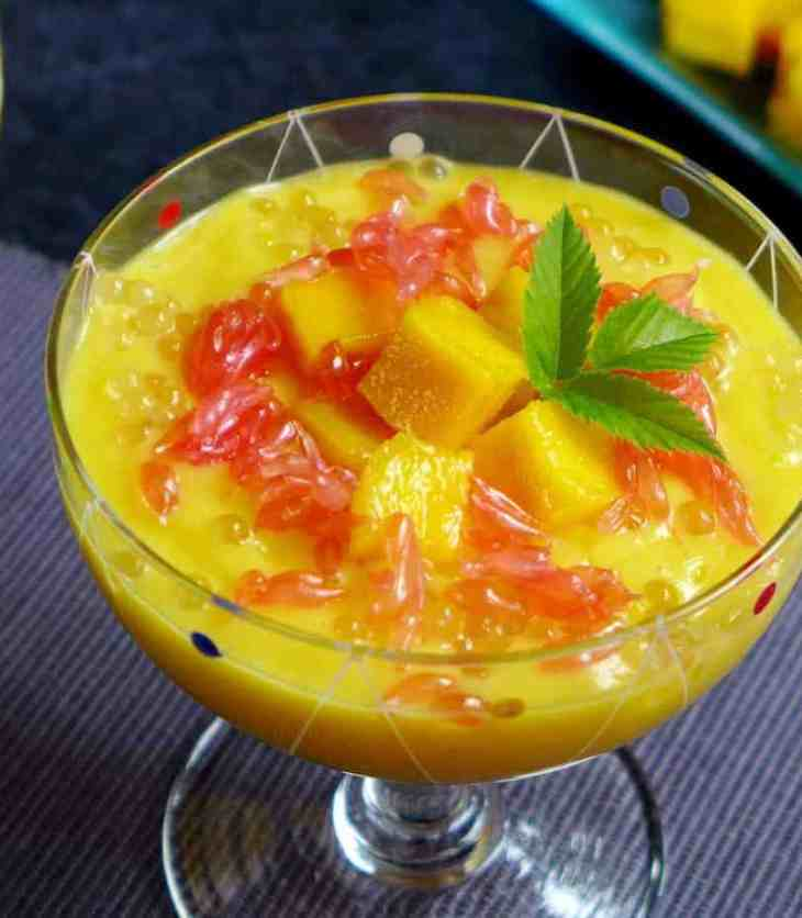 A landscape photo of mango sago dessert.