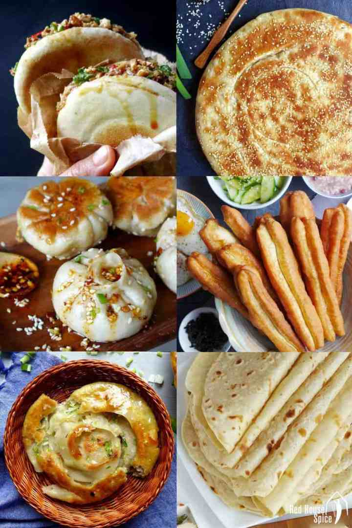 A collection of different types of Chinese bread