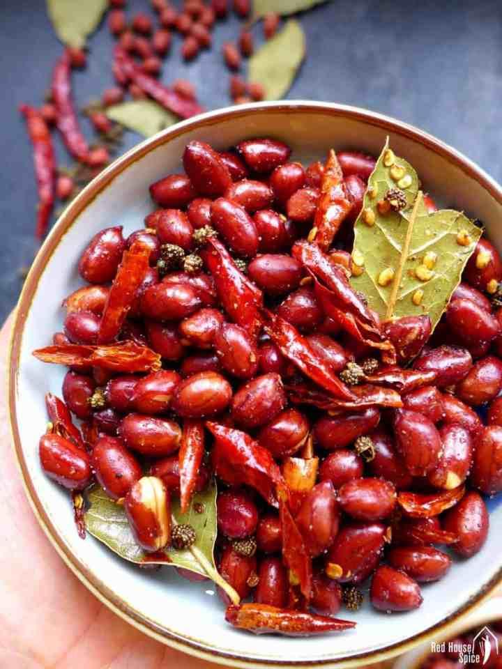 A plate of Mala peanuts