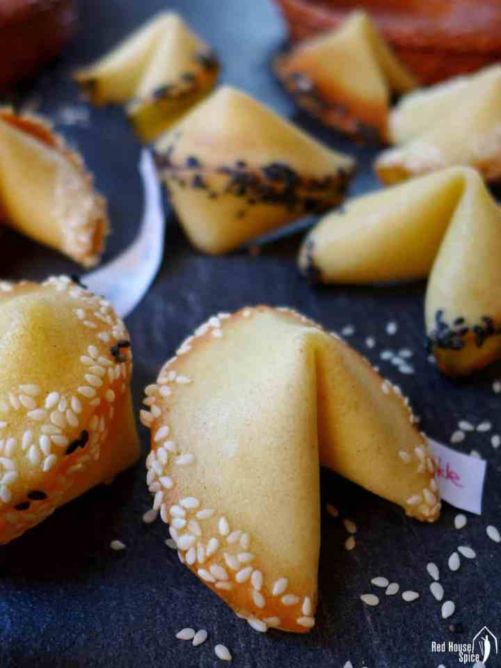Homemade fortune cookies with messages hidden inside