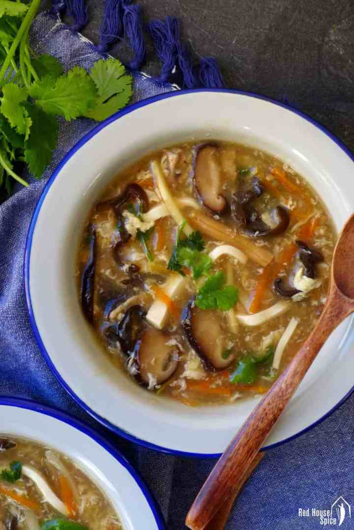 A bowl of hot & sour soup