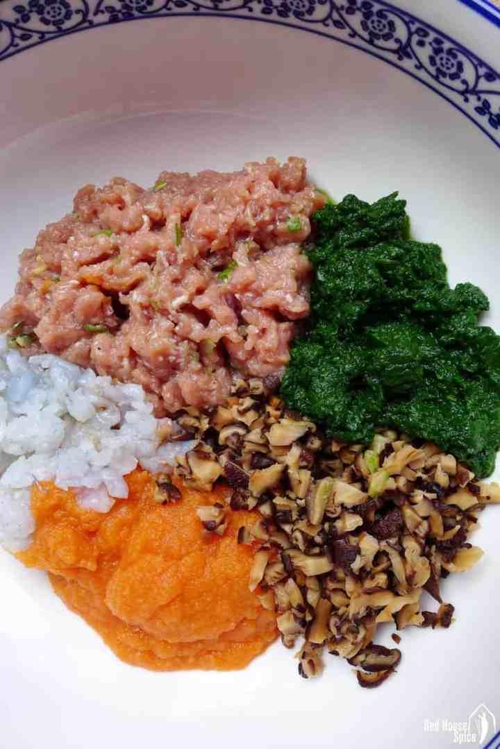 Dumpling filling consists of pork, shrimp, mushroom & vegetables.
