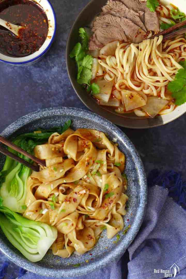 Two bowls of hand-pulled noodles.