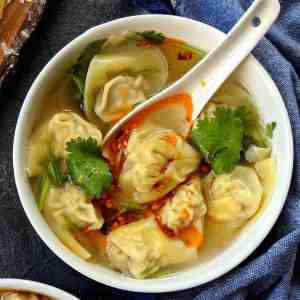 A bowl of pork wonton soup