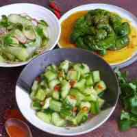 Three plates of Chinese cucumber salad