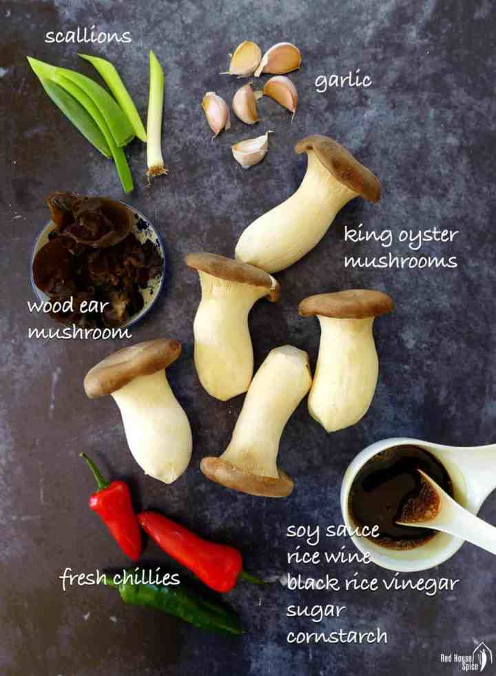 Ingredients for making king oyster mushroom stir-fry