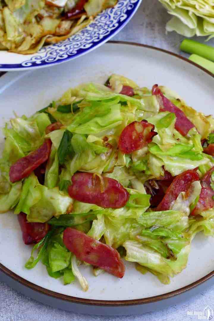 Stir-fried cabbage with Chinese sausage