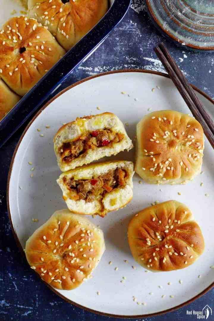 Oven-baked bao buns stuffed with lamb