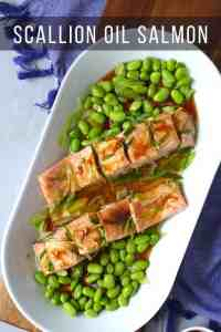 Steamed salmon with edamame
