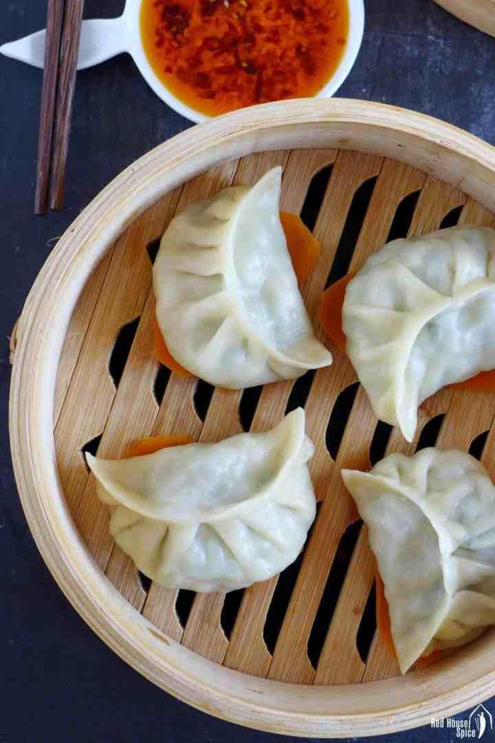 dumplings in a steamer basket