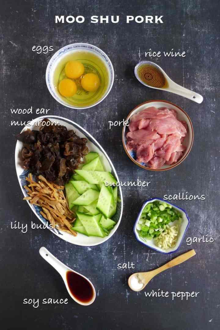 Ingredients for making Moo Shu Pork
