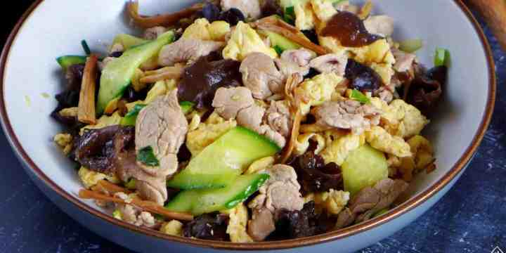 A plate of Moo Shu Pork stir-fry