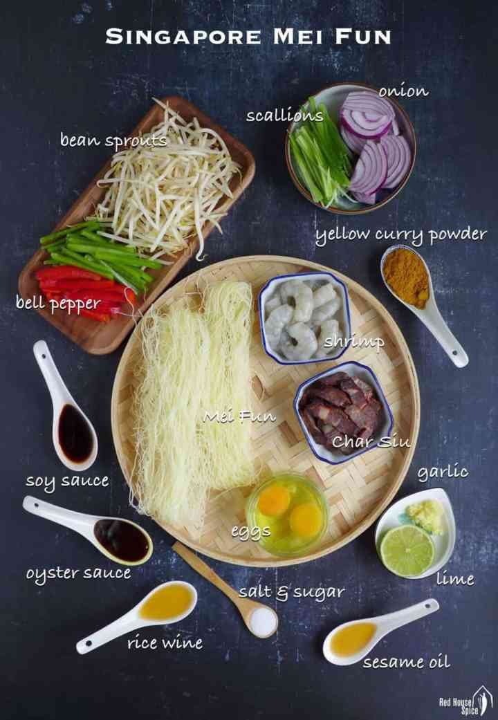A group of ingredients for making Singapore Noodles