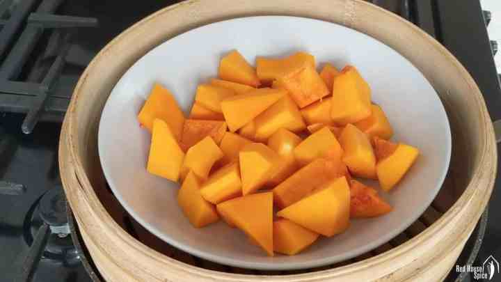 Chunks of butternut squash in a steamer