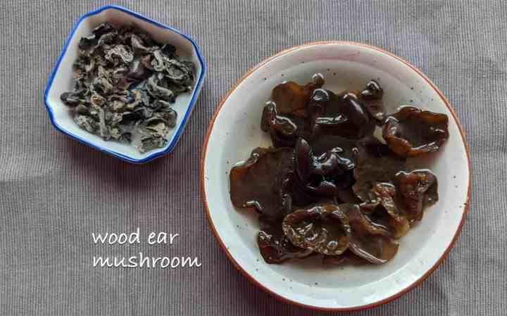 Dried and rehydrated wood ear mushroom