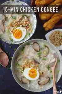 two bowls of chinese chicken congee with mushroom