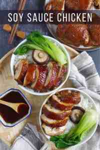 soy sauce chicken served with rice and bok choy