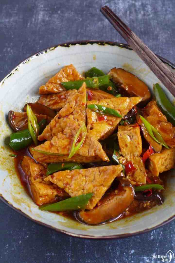 Chinese braised tofu with spicy seasoning