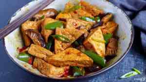 Chinese Braised tofu with pepper and mushroom