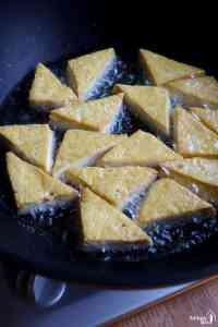 shallow-frying tofu