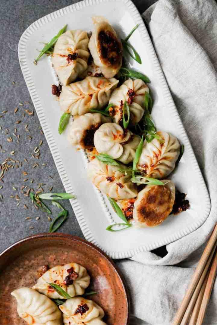 Pan-fried dumplings with lamb filling