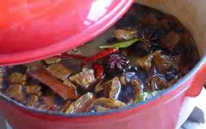 cooking beef in a pot