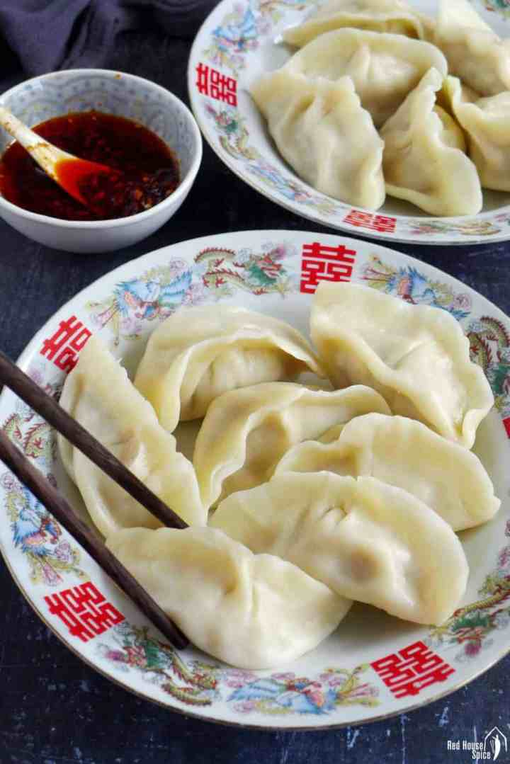 Chinese boiled pork dumplings and chili oil