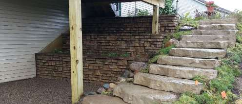 Red-Wall_Stairs_Redi-Scape_Walkout_Wall_under_deck