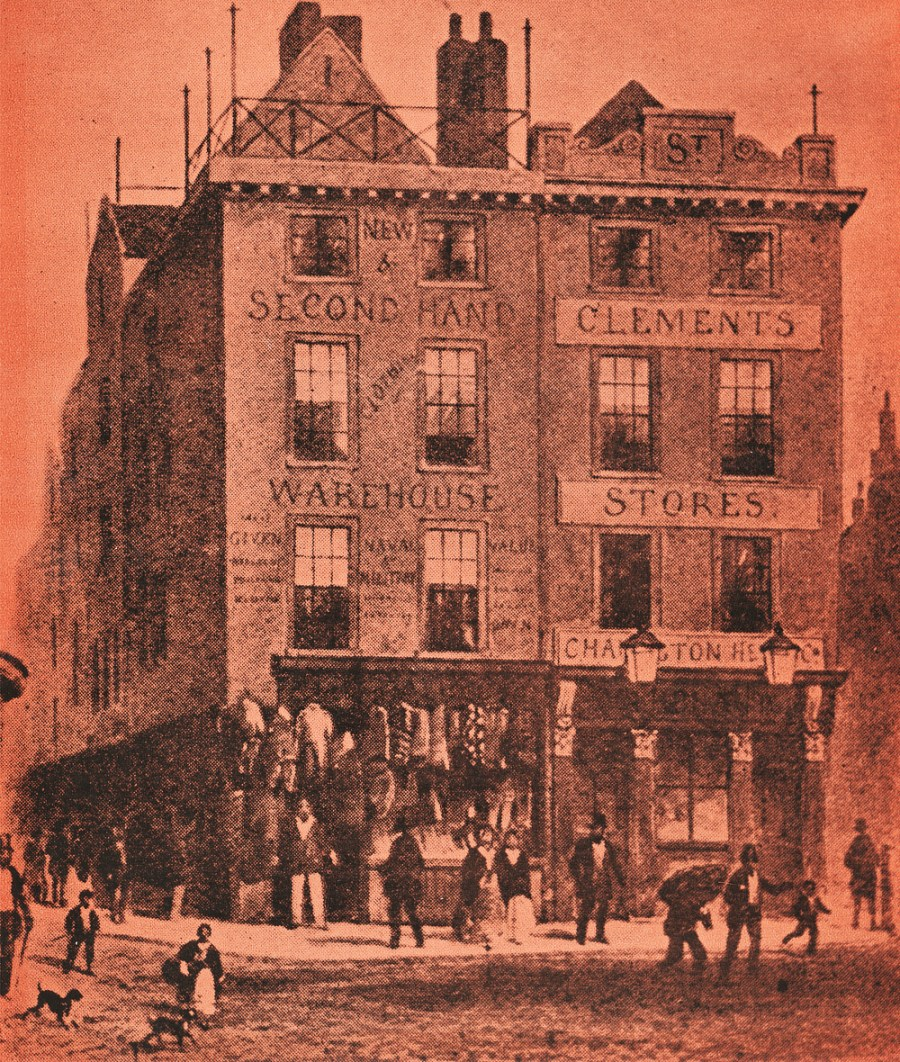 Holywell Street and Wych Street in 1855. Note the fact that the store on the left claims to be a naval and military outfitters.