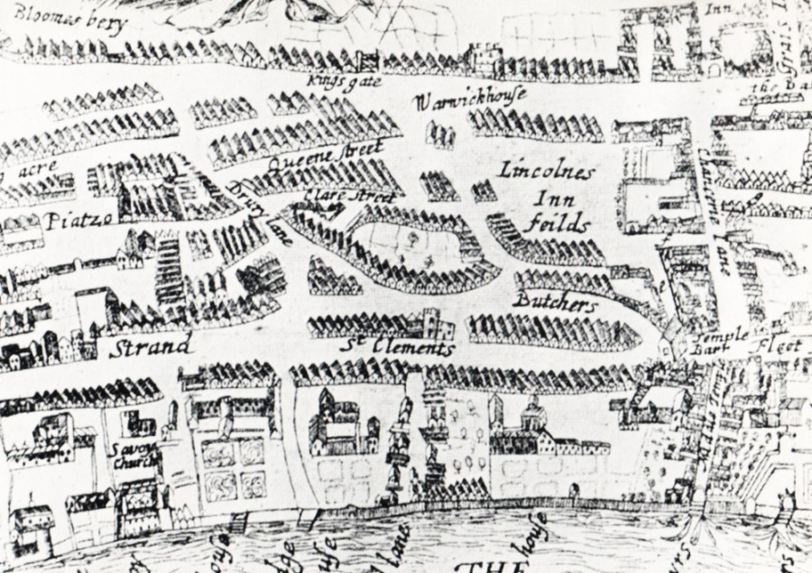 1654 map of London and the region around Television House which is now placed somewhere around the centre of the area shown.