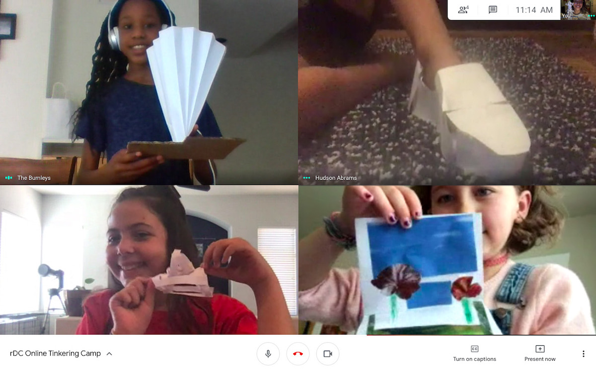 online class showing some projects they made