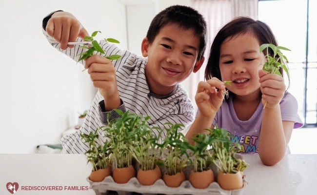 kids with plants