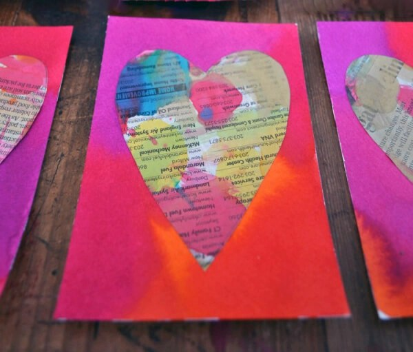 Painted newspaper hearts