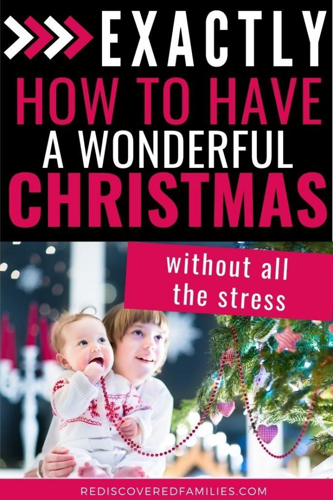 Children enjoying a minimalist Christmas