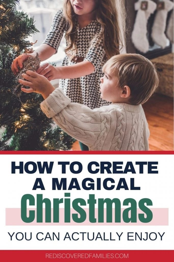 Children decorating a simple CHristmas tree