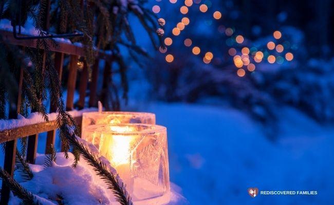 family advent activities: ice lanterns
