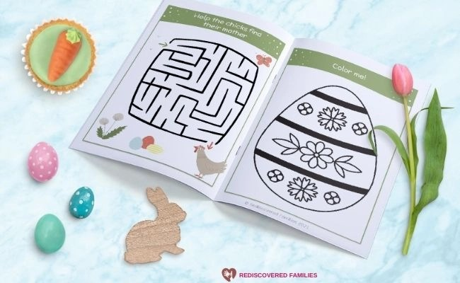 close up pages in free printable Easter book