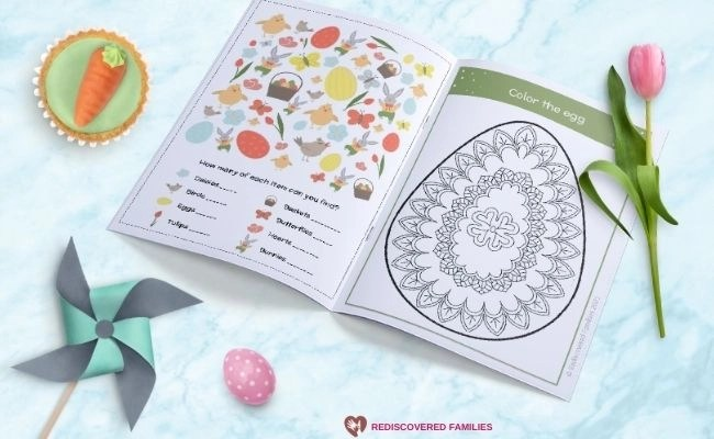 close up pages in free printable Easter activity book
