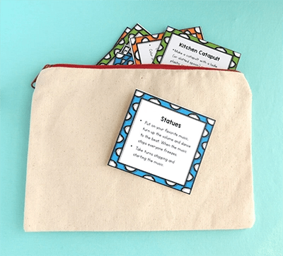 cards in canvas bag