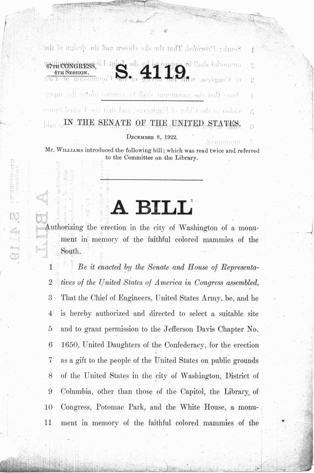 """The first page of the bill to sponsor the monument to colored """"mammies."""" (NAID 4685889"""""""