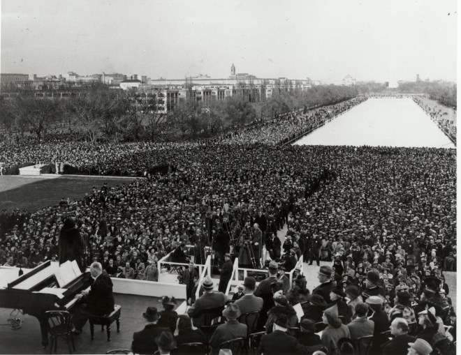Photograph of 75000 people gathered to hear Marian Anderson's recital