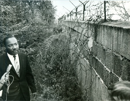 Dr. King visits the Berlin Wall. Reference: 306-BN-466-1