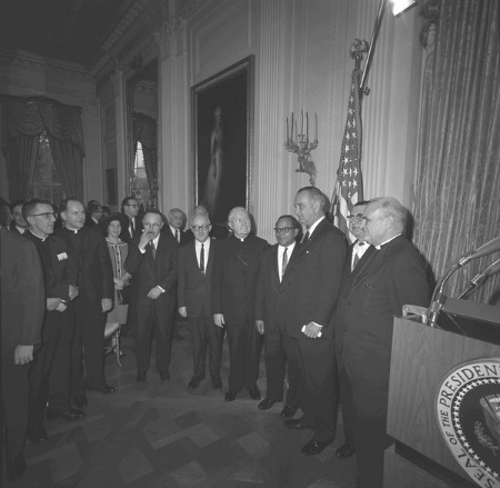 President Lyndon B. Johnson Johnson meeting with religious leaders to discuss Civil Rights.