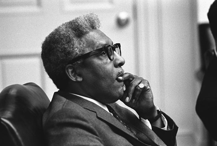 This portrait of Bayard Rustin was taken on April 5, 1968 during a meeting between civil rights leaders and President Lyndon B. Johnson after the assassination of Rev. Martin Luther King, Jr. (Serial #: A6015-23)